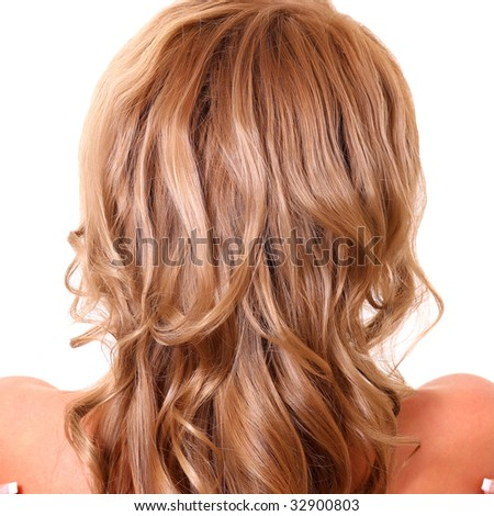 Blonde girl with bare back, isolated on a white background, please see some of my other parts of a body images