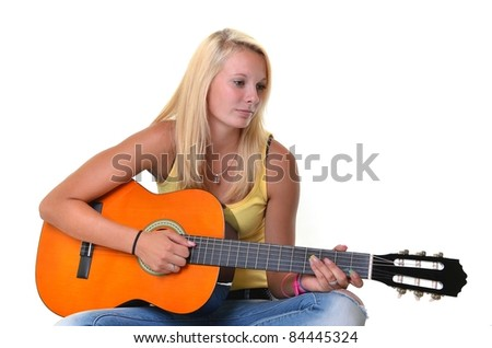blonde girl with guitare isolated