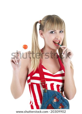 blonde girl with lollipops isolated on white
