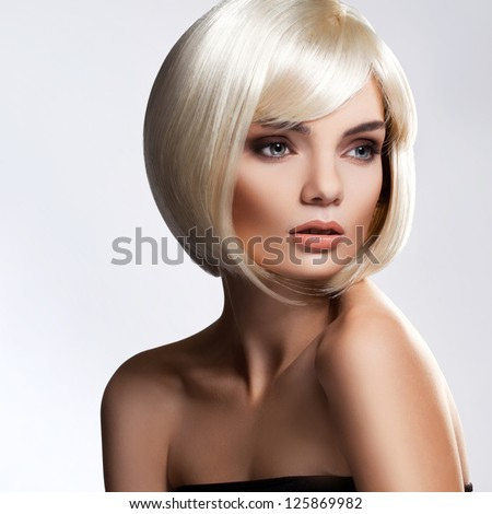 Blonde Hair. Portrait of beautiful blonde with with Short Hair. High quality image. - stock photo