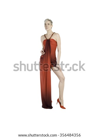 Blonde hairs women wearing red dress with red shoes on white background