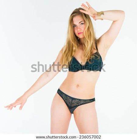 Blonde Model Girl Over White  - stock photo