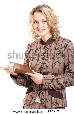 Blonde student girl reading a book on white background