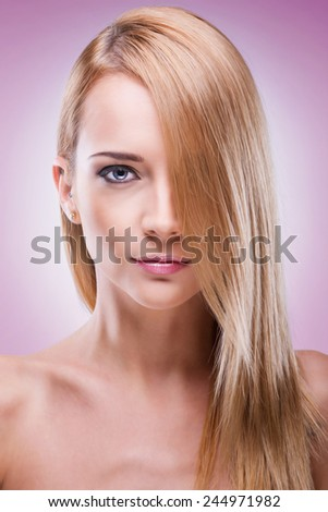 Blonde woman beutay portrait - stock photo