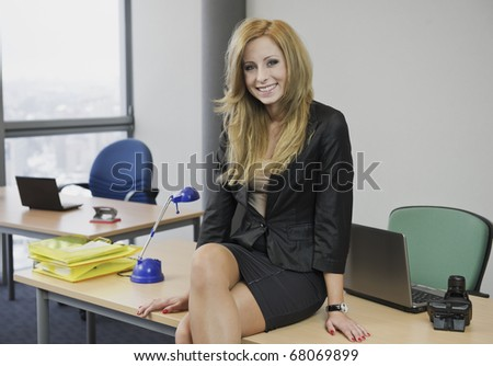Blonde woman in the office