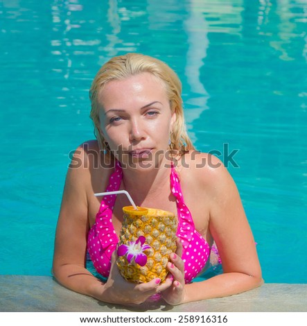 Blonde Woman On a Hot Resort  - stock photo