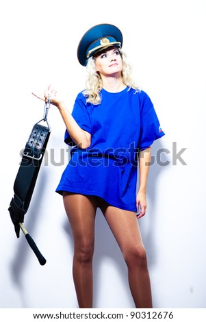 Blonde woman police officer - stock photo