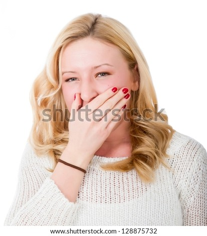 blonde woman tired - stock photo
