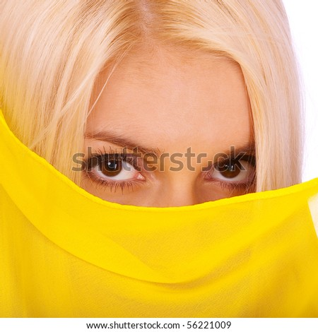 Blonde woman with yellow paranja, isolated on white background.