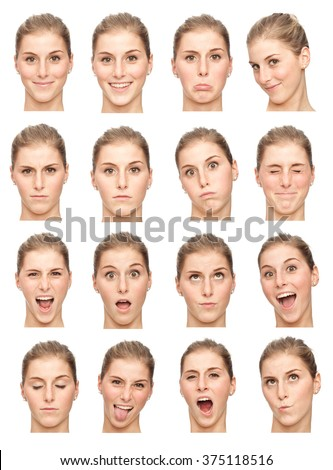 blonde young caucasian woman collection set of face expression like happy, sad, angry, surprise, yawn isolated on white - stock photo