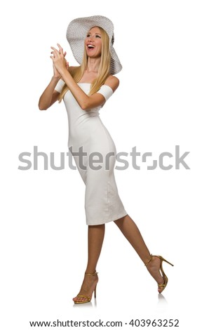 Blondie in elegant dress isolated on white - stock photo