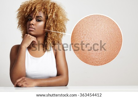 blondy black woman with a healthy skin in a loop zoom - stock photo