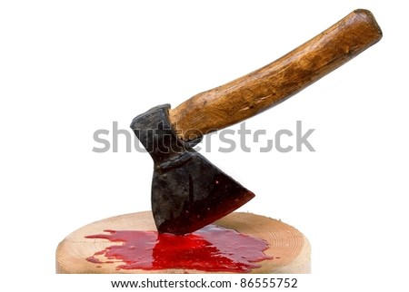 Blood, axe and executioner's block - stock photo