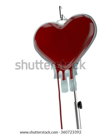 Blood Bag Heart Shape on White Background. Blood Donation Concept - stock photo