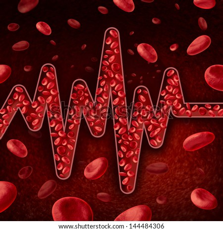 Blood cells concept as a flowing vein or artery shaped as an ECG or EKG as a pulse trace graph monitoring life line as a health care and medical symbol for human body circulation diagnosis. - stock photo