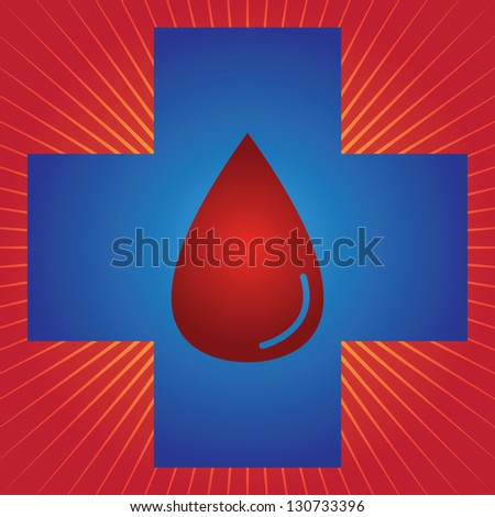 Blood Donation, Give Blood, Save Life or First Aid Concept Present by Blue Cross With Red Blood Drop Inside in Red Shiny Background - stock photo