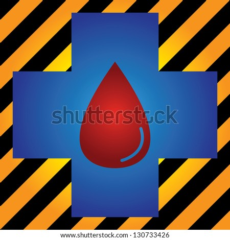 Blood Donation, Give Blood, Save Life or First Aid Concept Present by Blue Cross With Red Blood Drop Inside in Caution Zone Dark and Yellow Background - stock photo