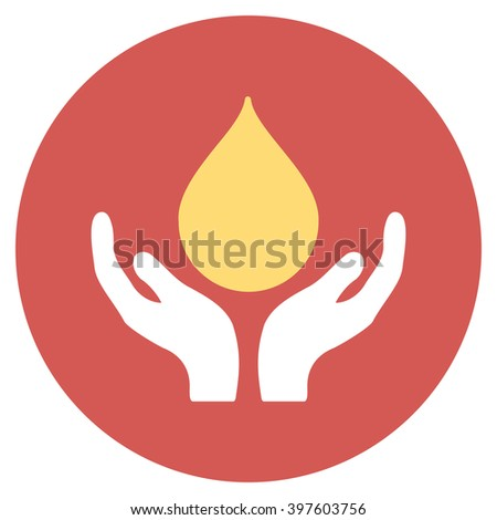 Blood Donation glyph icon. Image style is a flat light icon symbol on a round red button. Blood Donation symbol. - stock photo