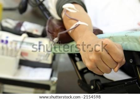 blood donation in progress - stock photo