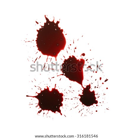 Blood drip isolated in white background - stock photo
