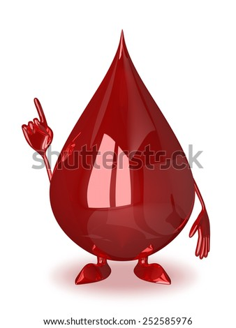 Blood drop character in moment of insight or making warning gesture - stock photo