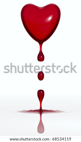 Blood dropping heart isolated on white background. 3d render - stock photo