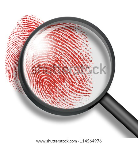 blood fingerprint through magnifying glass - stock photo