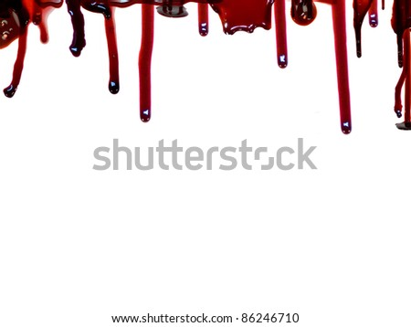Blood flows from the top. Isolated on white background - stock photo
