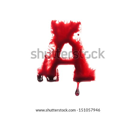 Blood fonts with dripping blood, the letter A - stock photo