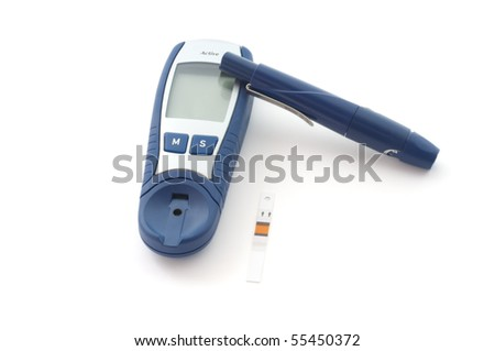 Blood glucose meter, grasps the situation - stock photo