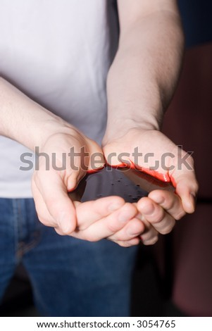 Blood Hands - stock photo