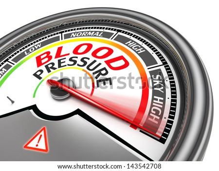 blood pressure conceptual meter indicate sky high, isolated on white background