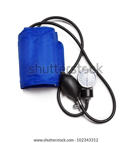 Blood pressure device  isolated over white background - stock photo