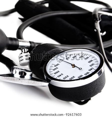 Blood pressure device, sphygmomanometer, over white background - stock photo
