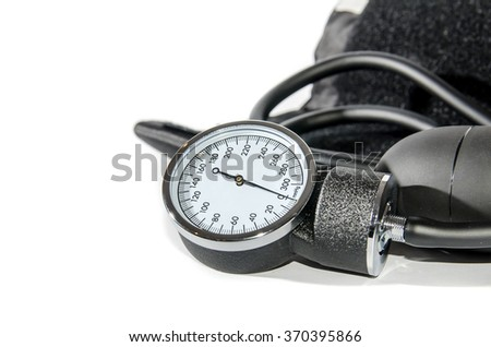 Blood pressure medical equipment isolated on white - stock photo