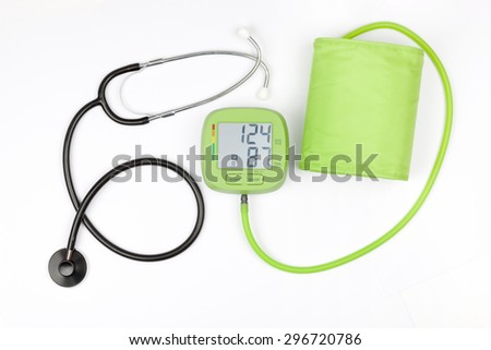 Blood pressure meter and stethoscope isolated on a white background - stock photo