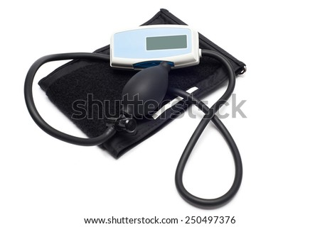Blood pressure monitor isolated on white - stock photo