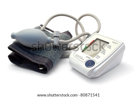 Blood pressure monitor isolated on white. - stock photo