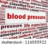 Blood pressure warning message background. Medical poster design - stock photo