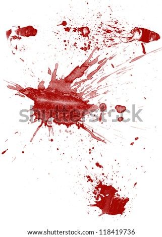 Blood spatter on white background