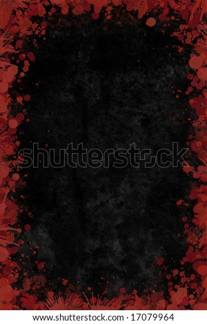Blood splat droplets border with black leather blank middle background for your own design