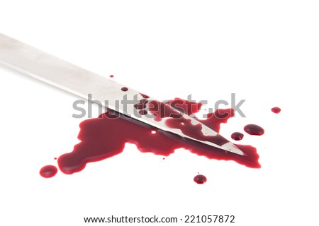 Blood splatter with kitchen knife - stock photo
