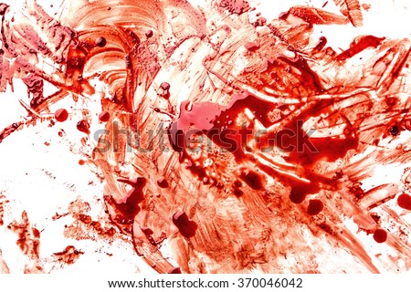 Blood splatters on white background - stock photo
