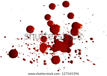 Blood stains isolated on white background - stock photo