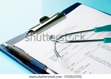 Blood test results with a clipboard with stethoscope on blue, reflective background