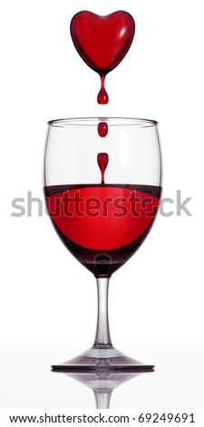 Blood wine. Wineglass filled with red wine and blood dropping heart above. 3d