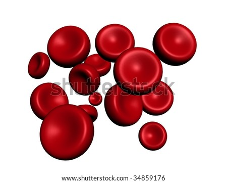 bloodcells - isolated on white - stock photo