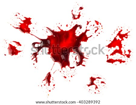 Bloodstain isolated on white background - stock photo