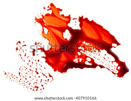 Bloodstain isolated on white background - stock photo