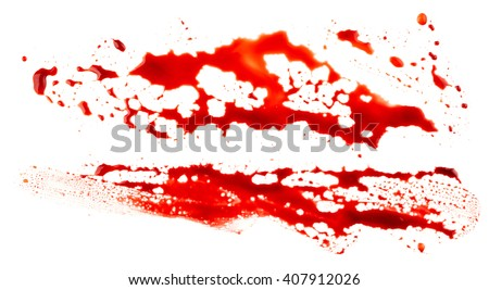 Bloodstains isolated on white background - stock photo